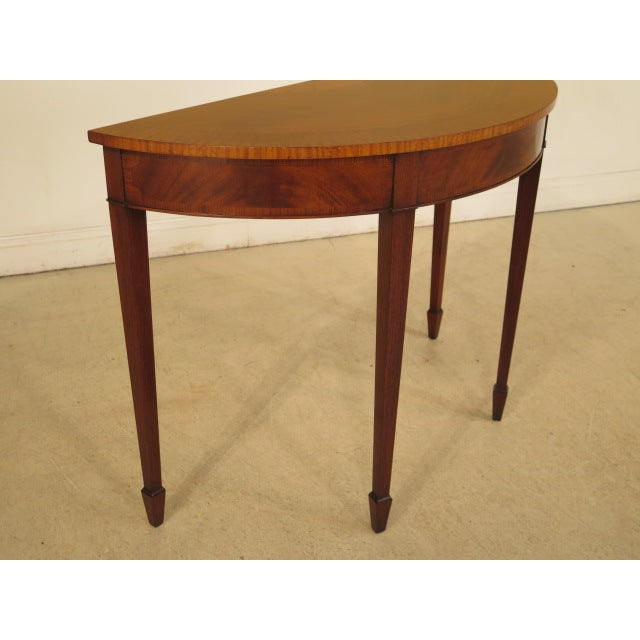 Federal Style Mahogany Demilune Tables - A Pair - Image 6 of 11