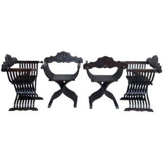 19th Set of Four Century Carved Walnut Folding Scissors Savonarola Bench/Settle For Sale