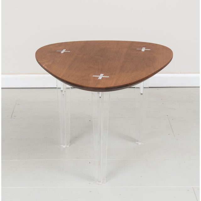 Mid-Century Heart Shape Coffee Table Lucite Legs - Image 2 of 4