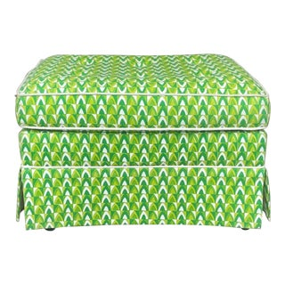 Hollywood Regency Green Mod Print Ottoman For Sale