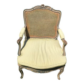 Shabby Chic French Cane Arm Chair For Sale