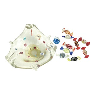 Murano Glass Bowl & Candies, 11 Pieces - Set of 11 For Sale