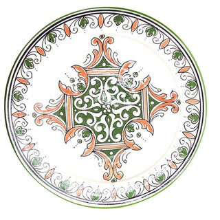 Green & Red Atlas Arabesque Plate For Sale
