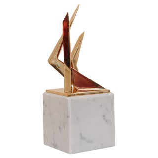 Modern Bronze Architectural Sculpture on Marble Base For Sale