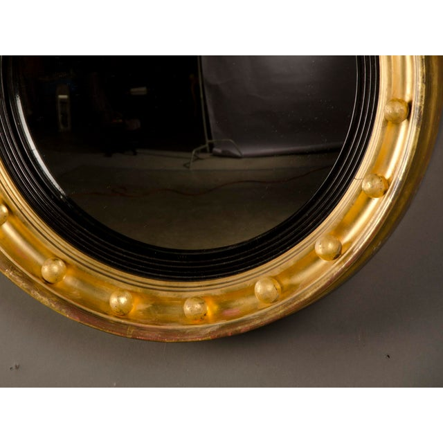 Glass Antique English Regency Perios Gold Leaf Convex Mirror circa 1825 For Sale - Image 7 of 7