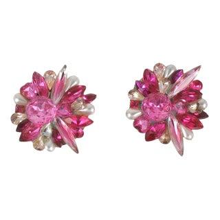 Pink Rhinestone Earrings For Sale