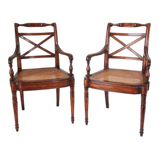English Regency Style Library Cane Armchairs - a Pair For Sale