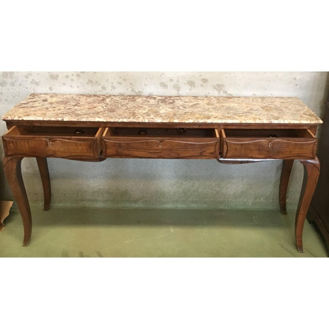 French Provincial 19th French Three Drawers Console Table With Top Marble For Sale - Image 3 of 11