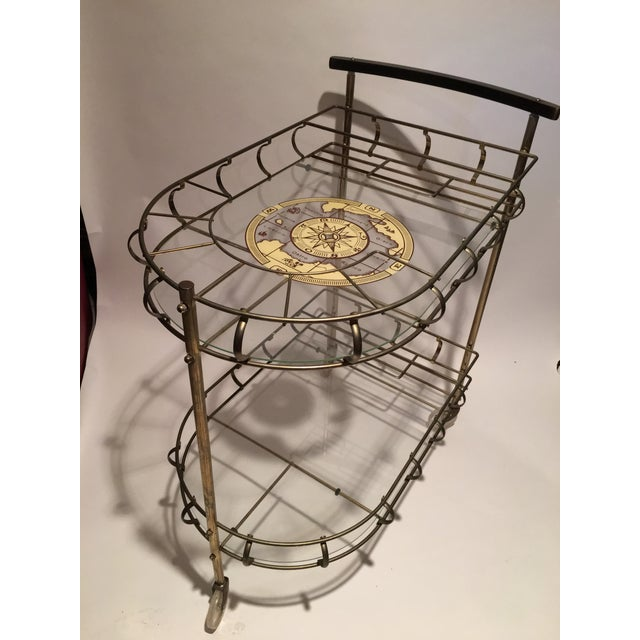 Contemporary Mid-Century Brass Bar Cart With 6 Matching Glasses For Sale - Image 3 of 9