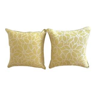 Citron Silk and Linen Blend Pillows - A Pair For Sale