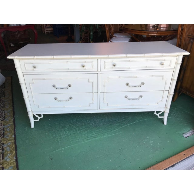 Vintage Thomasville Faux Bamboo Six Drawer Dresser For Sale - Image 12 of 12