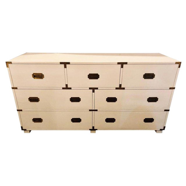 Baker Campaign Chest Having Bronze Pull Spectacular White Lacquer Finish For Sale