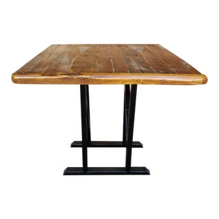 Industrial Rustic Reclaimed Wood Live Edge Timber Bistro Table With Iron Legs