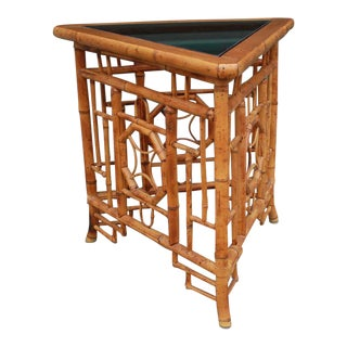 Chinoiserie Bamboo Rattan Brighton Pavilion Triangle Wedge Side Table For Sale