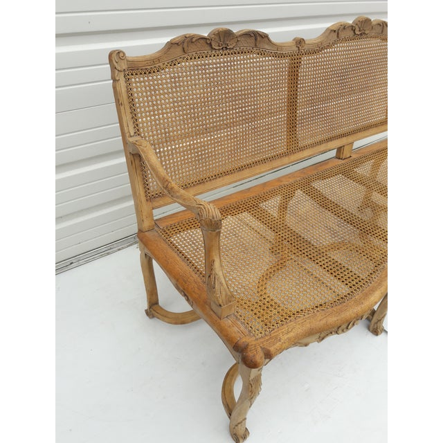 Antique French Caned Three Seat Louis XV Style Settee French Provincial Long Caned Canape For Sale - Image 12 of 13