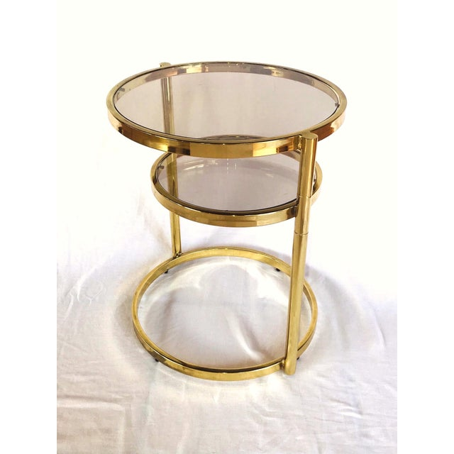 DIA - Design Institute America Hollywood Regency Brass and Smoked Glass Swivel Side Table by Dia, 1970's For Sale - Image 4 of 13