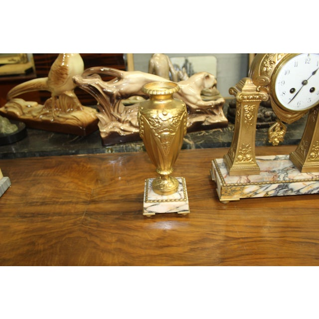 Limousin 1940s French Art Deco Gilt Clock Garniture Set Signed G. Limousin - 3 Pc. Set For Sale - Image 4 of 11