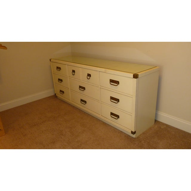 Campaign Vintage Mid-Century Modern Drexel Aged White Lacquered Rattan & Solid Wood Dresser With Glass Top For Sale - Image 3 of 11