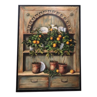 Potted Citrus Framed Oil Painting on Canvas For Sale
