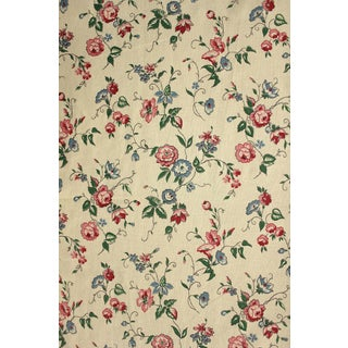 Fabric Vintage French Printed Cotton 1950's Trailing Floral Design ~ Lovely Tone For Sale