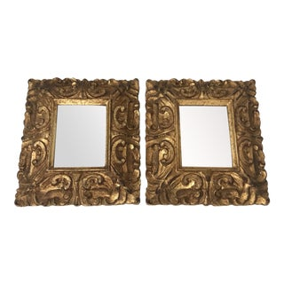Reproduction Rococo Style Gilded Rectangular Mirror-A Pair For Sale