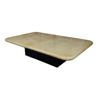 1960s Italian Mid-Century Parchment Coffee Table For Sale
