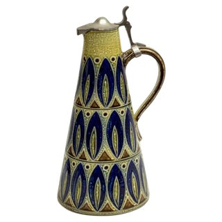 Cobalt Glazed Stoneware Conical Pitcher/Ewer For Sale