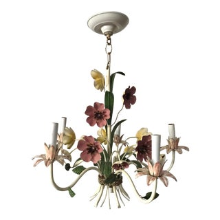 Vintage Tole Pink and Yellow Floral Chandelier For Sale