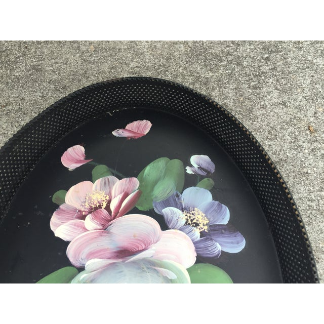 Mid 20th Century Small Hand-Painted Tole Tray Mesh Sides Floral For Sale - Image 5 of 10