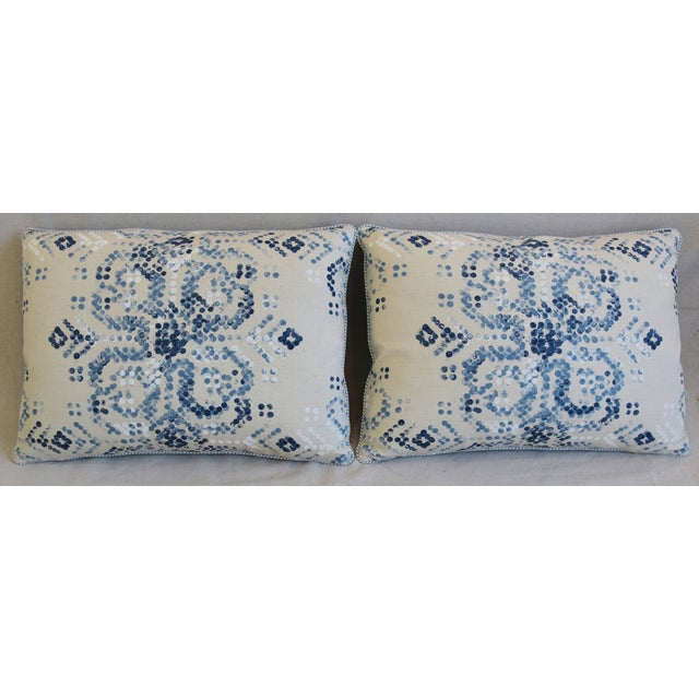 "Custom-tailored pillows in hand-printed Villa Nova ""Marit"" linen fabric in a indigo blue and white colorway. Pillow backs..."