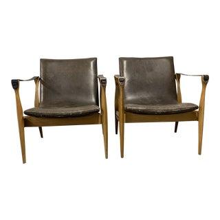 Ebbe & Karen Clemmensen for Fritz Hansen Safari Chairs - a Pair For Sale