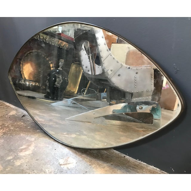 Italian Italian Midcentury Oval Brass Wall Mirror, 1950s For Sale - Image 3 of 10