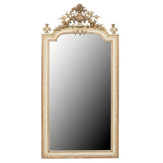 19th Century Antique Louis XVI Painted Mirror For Sale