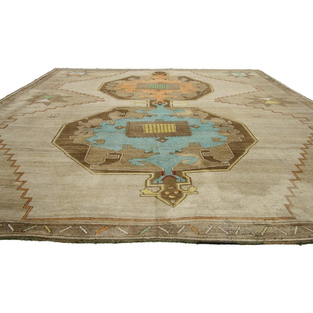 1950s Turkish Painted Oushak Kars Area Rug - 11' X 12'9 For Sale - Image 4 of 5