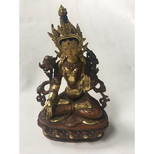 Buddhist Tara Goddess Of Cast Brass For Sale - Image 11 of 11