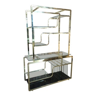 Brass and Glass Etagere in the Manner of Milo Baughman For Sale