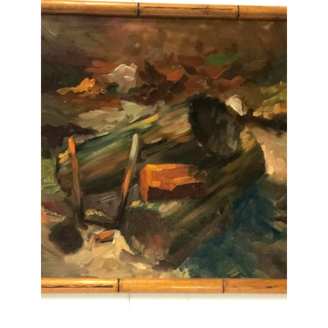 Mid-century oil on canvas of stacked fire logs and kindling painted in the manner of Impressionism. The still life...