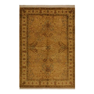 Pak-Persian Lang Gold/Lt. Tan Wool Rug - 4'7 X 6'9 For Sale