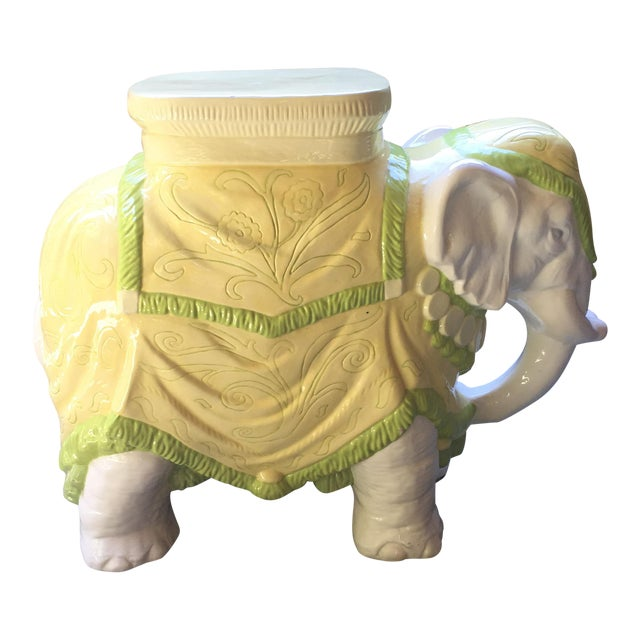 Mid-Century Italian Ceramic Elephant Garden Stool - Image 1 of 10