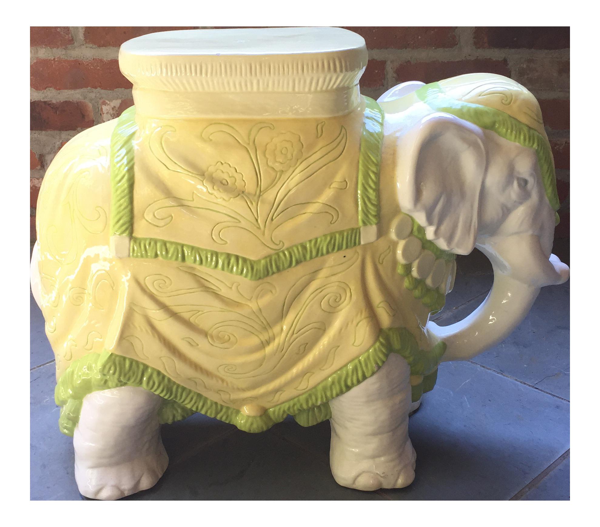 Mid Century Italian Ceramic Elephant Garden Stool   Image 1 Of 10