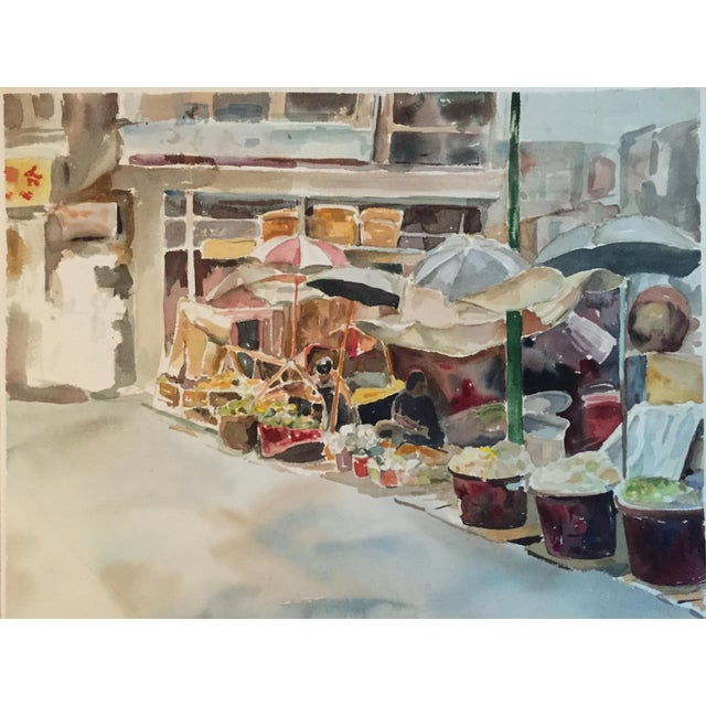 Thelma Moody Gouache Farmer's Market Painting For Sale - Image 7 of 7