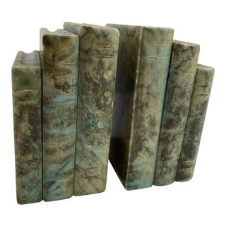Vintage Green Marble Bookends - A Pair For Sale