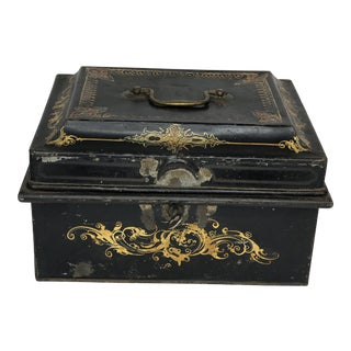 English Tole Gilt and Paint Decorated Document Box C. 1920 For Sale