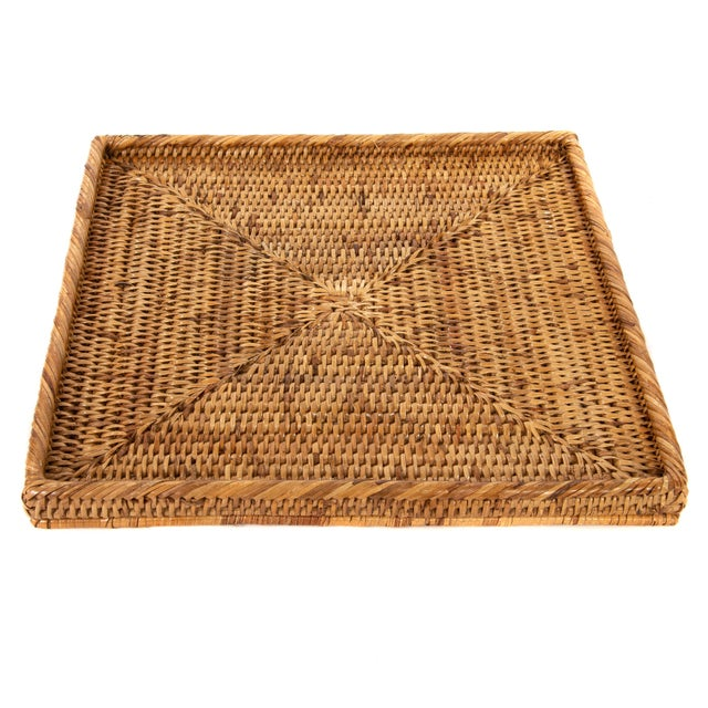 Boho Chic Artifacts Rattan Square Tray For Sale