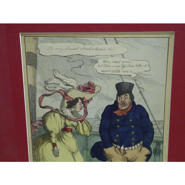"""""""The Steam Boat"""" Hand Colored Print For Sale - Image 4 of 6"""