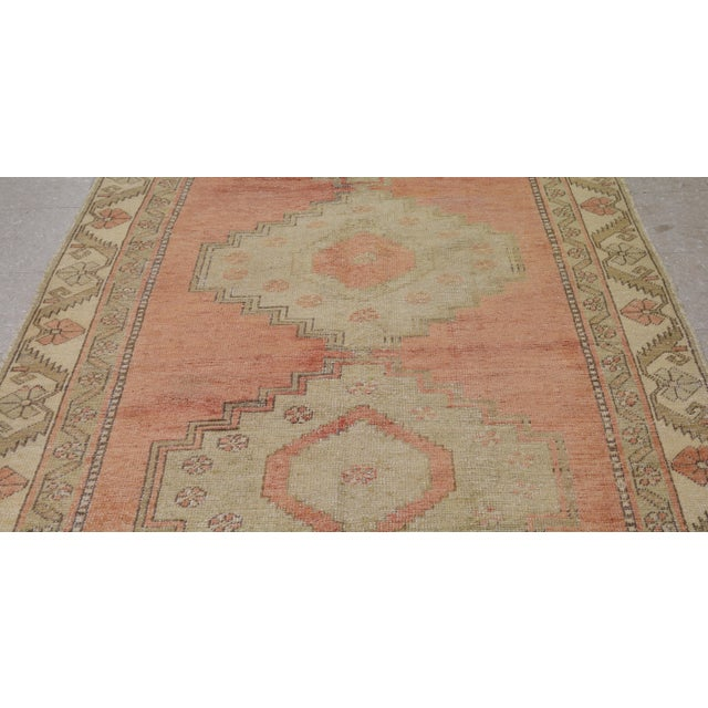 "Boho Chic Vintage Turkish Oushak Rug,4'4""x10'6"" For Sale - Image 3 of 6"