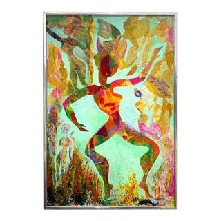 """Midcentury Mixed-Media """"Fire Dancer"""", Udell 1974 For Sale"""