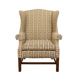Late 20th Century Vintage Ethan Allen Upholstered Wingback Armchair For Sale