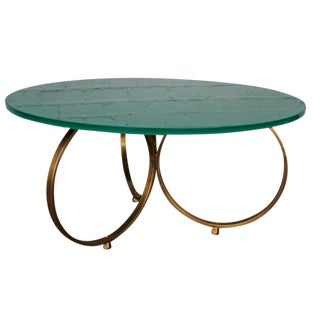"Adesso Imports Brass ""Isay"" Coffee Table With Reverse Painted Glass Top For Sale"