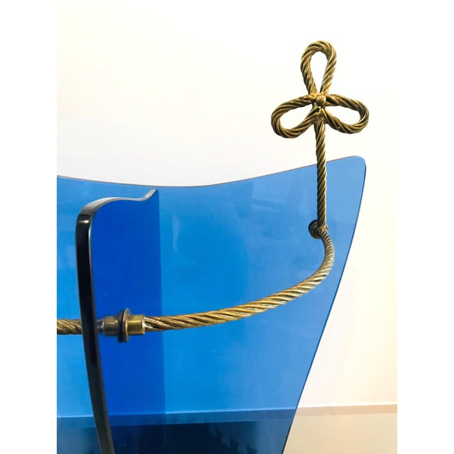 Mid-Century Modern Italian Glass and Gilt Iron Umbrella Stand by Fontana Arte, 1950s For Sale - Image 3 of 13